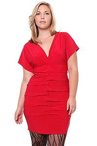 Red Pleated Short Sleeved Dress