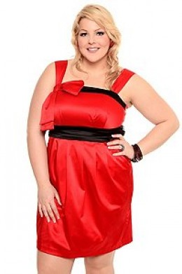 Stunning red and black satin bow pocket dress features ribbon accent on shoulder with satin sash ribbon on waist, elastic back and back zipper entry.