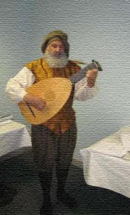 Galileo playing the Lute