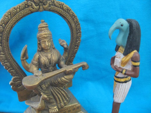 Saraswati the Hindu God of Knowledge compares notes  with Thot the Egyptian God of knowledge