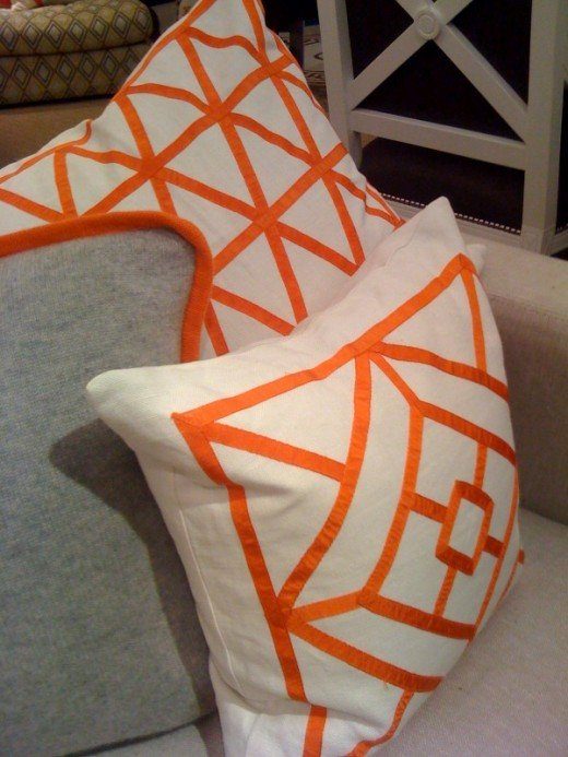 New, bright throw pillows can bring springtime to a room.