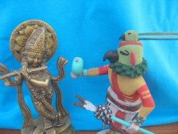 Kyashu Katsina the Hopi Parrot dances with Krishna the God of Love while he is playing his flute.