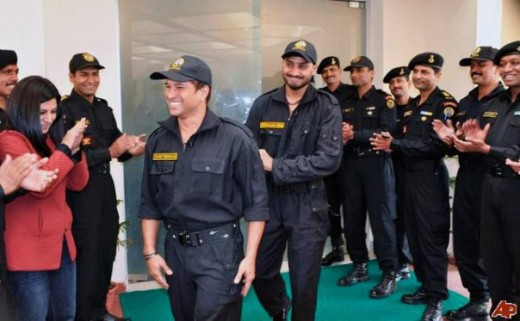 Sachin Tendulkar with Harbhajan Singh At NSG Headquarters, Haryana, India