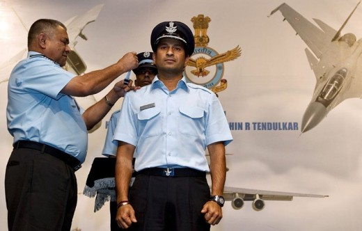 Sachin Tendulkar getting honored as the Group Captain in the Indian Air Force.