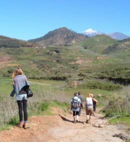 Walkers in the Erjos countryside