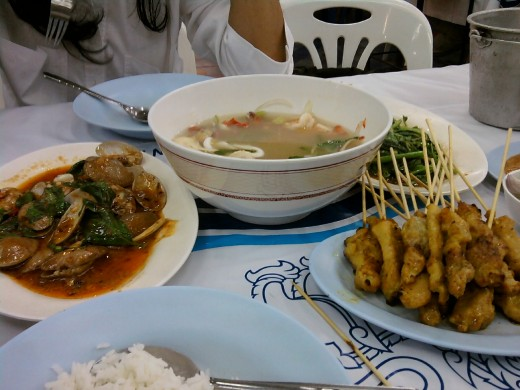 Left to right - Clams, Tom Yum and Pork Satay and rice - 240 baht