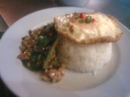 Pork with holy basil, rice and fried egg - Pad Kra Pow Moo