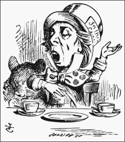 "The Hatter as depicted by Sir John Tenniel, reciting his nonsensical poem, ""Twinkle, Twinkle, Little Bat"