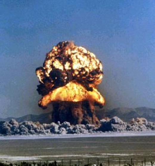 "This controversial photograph is of an ""art nuking"" that was recently detonated in the Middle East as a fear deterrent."