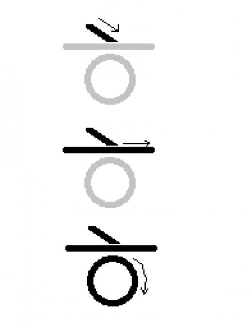 The letter H, written left to right, and from top to bottom
