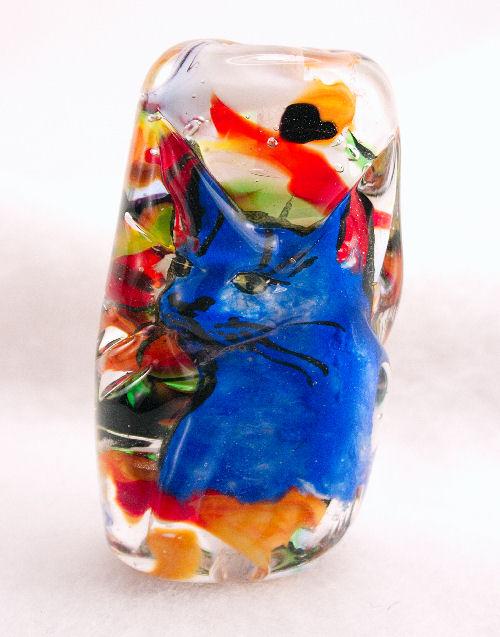Blue Cat Lampwork Bead