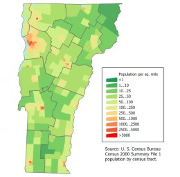 Map of the Population of Vermont