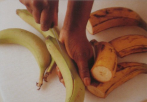 Choose green plantains if you want to fry them (they won't absorb oil and will remain crispy)