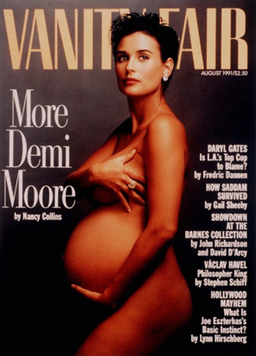 Actress Demi Moore when pregnant