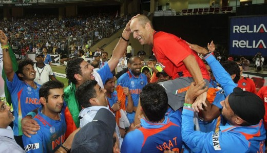 Gary Kirsten -- Indian Team's Coach -- Joins in the Celebration!