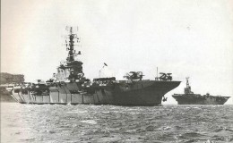 A rare picture of Australia's two 1950s aircraft carriers together.  Melbourne in foreground, Sydney further out.   The third carrier, HMAS Vengeance had already returned to the UK.