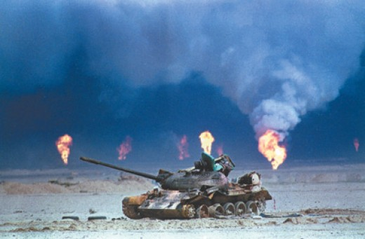 This photo comes courtesy of Desert Storm in 1991 when more than 500 oil wells were set alight during the war in Iraq.