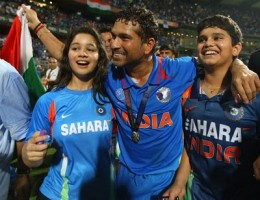 Sachin Tendulkar celebrates the moment along with daughter Sara and son Arjun