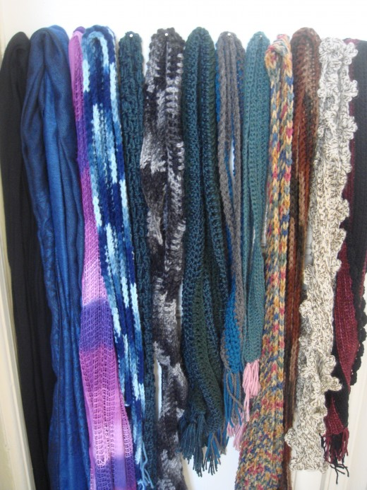 Some of the scarves I've crocheted!
