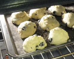 Blueberry biscuits at the seven-minute mark in a 400 F oven.