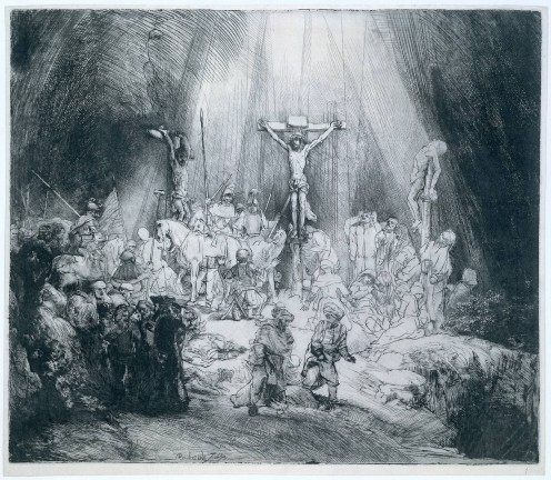 The Three Crosses, etching by Rembrandt, 1653, State III of V.