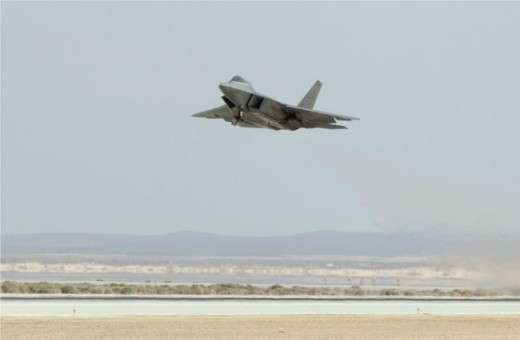 An F-22 Raptor powered by biofuel takes off March 18, 2011. (U.S. Air Force photo / Kevin North)