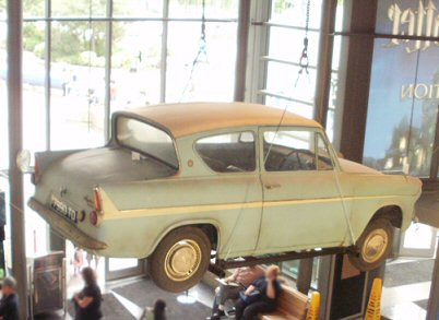 The flying Ford Anglia from the second Harry Potter movie