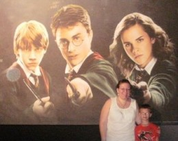 My nephew and me in front of one of the enormous Harry Potter signs outside the Exhibition