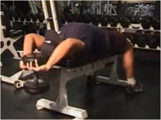 Dumbell pullover with bent arms