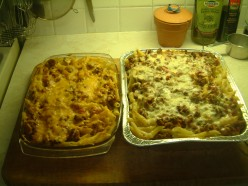 Penne Pasta Casserole Baked With Spaghetti Sauce  And Cheese