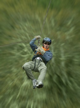 A ride down the zip line.