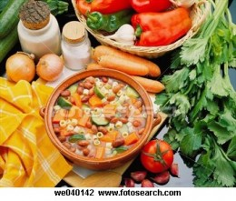 All the raw ingredients and the ready made minestrone soup