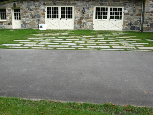 "Pennsylvania Blue stone driveway with 4"" grass joints"