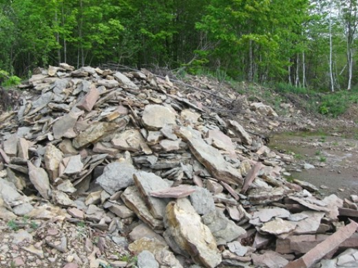 Pile of stone in quarry about 80 miles away