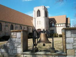 St James Evangelical Lutheran Church and bell monument, Bergholz, New York