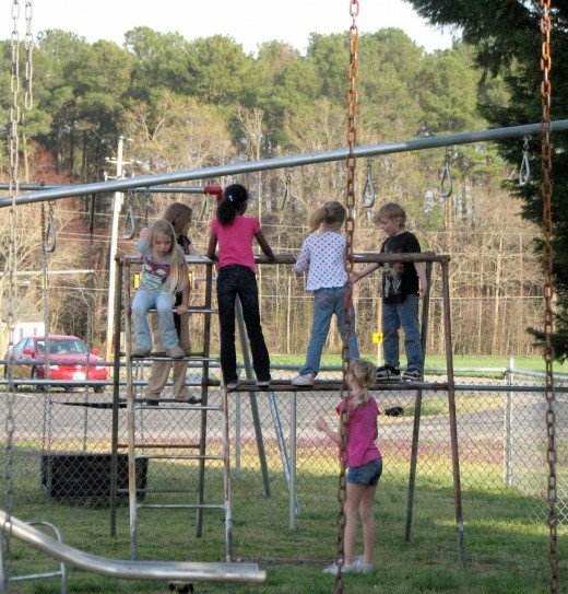 Every kid at the park is currently on these monkey bars.