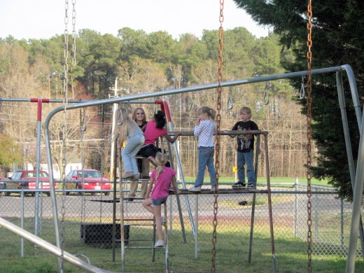They really like these monkey bars!