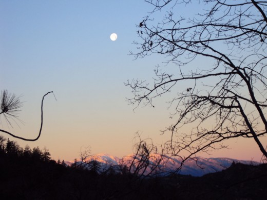 A magical moon in the San Bernardino Mountains.