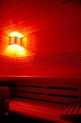A serene view Inside the sauna
