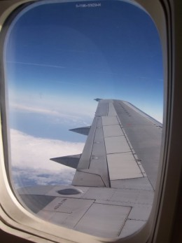 In an airplane - Choose a window seat over the wings - Motion sickness: What to do, photo by michelle_isawesome, source Photobucket