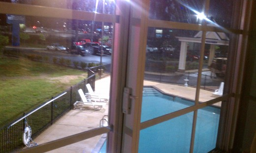 View outside the window. Pool.