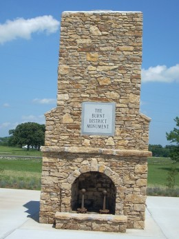 Burnt District Monument Marker in Harrisonville, Cass County Missouri