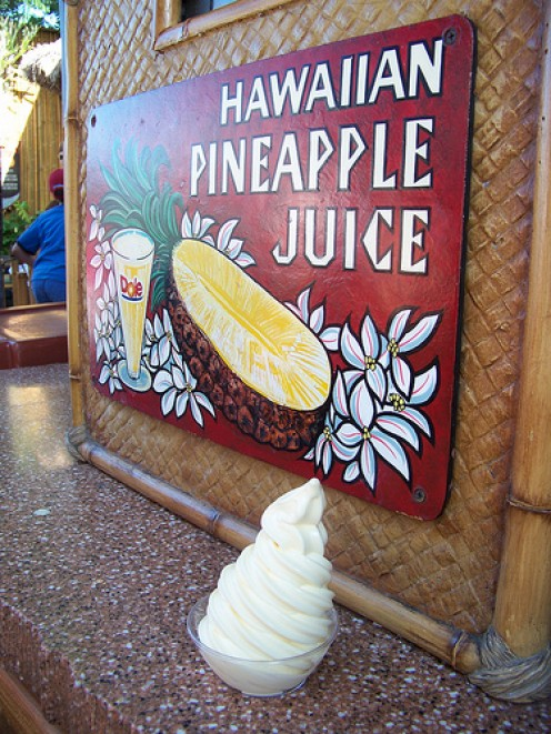 Sweet, refreshing Dole Pineapple Whip, available in very few places on Earth. Relax with this tasty treat while the tiki gods perform their pre-show for you.