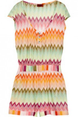 Balaton zigzag crochet-knit playsuit