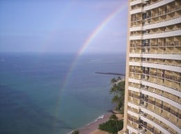 Double Rainbow from the balcony of the 'Sheraton Waikiki'