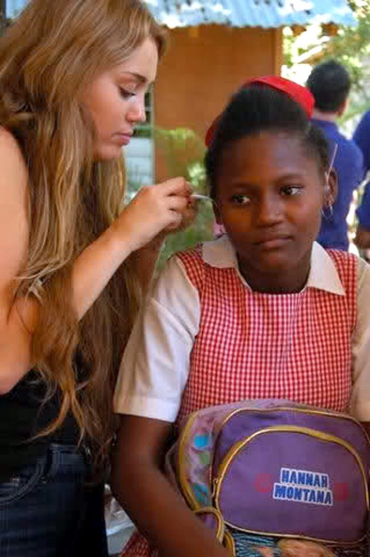 Miley Cyrus visits Haiti in February 2011