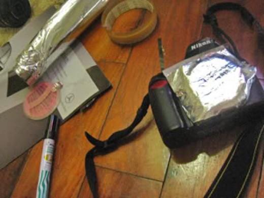 My Nikon D40 with my DIY improvised pinhole lens