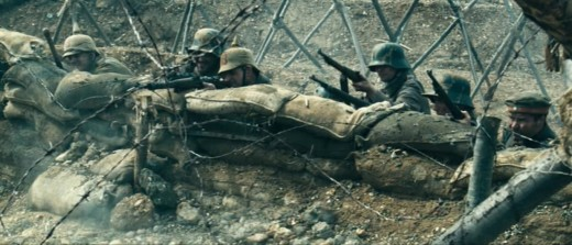 German Troops using Mauser G98 rifles in the trenches, a still picture taken from 'Flyboys'