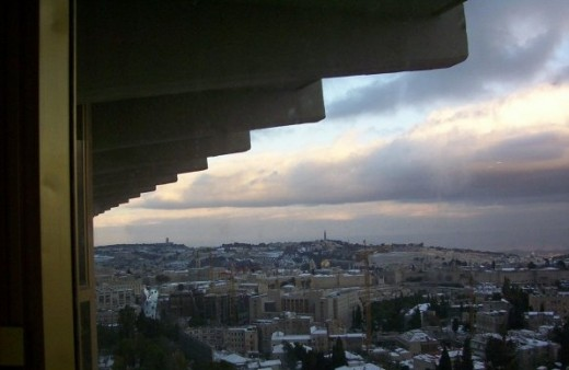 View from my room at Sheraton in Jerusalem looking toward Old Jerusalem (notice Dome of the Rock mid picture) and Mount of Olives