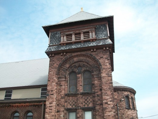 Detail of tower, Richardson Romanesque-Style West Avenue Presbyterian Church, Buffalo, New York